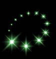 glittering flying stars green color vector image vector image