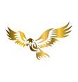 golden logo hawk that is flying vector image vector image