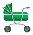green baby carriage icon cartoon style vector image