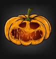 halloween pumpkin with a creepy face on a dark vector image
