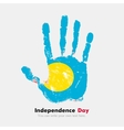 Handprint with the Flag of Palau in grunge style vector image vector image