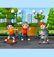 happy kids playing in the park city vector image vector image