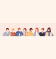 horizontal background with group people in vector image vector image
