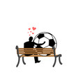 lover soccer guy and football ball sitting on vector image vector image