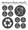 Marking of plastic utensils icons set vector image vector image