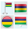 Mauritius flag - sticker button label flagstaff vector image vector image