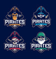 modern professional set emblem pirates for vector image