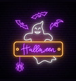 neon ghost sign happy halloween vector image vector image