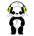 Panda in headphones vector image vector image