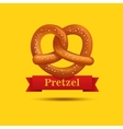 Realistic pretzel on the yellow background vector image