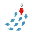 red fish going to hook vector image vector image