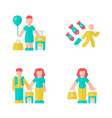 refugees flat design long shadow color icons set vector image