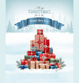 retro holiday christmas background with christmas vector image