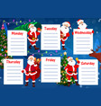 school education timetable santa christmas tree vector image vector image