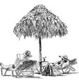 spouses on the beach sunbathing vector image vector image
