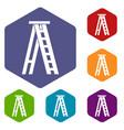stepladder icons set vector image