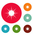 sun icons circle set vector image vector image