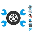 Tire Service Wrenches Icon With Free Bonus vector image