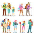 tourist traveling people tripper traveler vector image