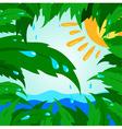 tropical leaf leaves tree green sun drops rain vector image