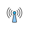 wifi tower antenna flat color line icon vector image vector image