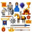 Flat Knight Icons Set vector image