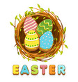 bird nest and colored biskvit cookies eggs vector image