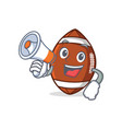 american football character cartoon with megaphone vector image vector image