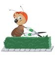 Ant Gardener cuts bush Gardener with scissors vector image