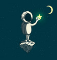astronaut boy keeps a shining star vector image