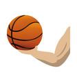 athlete hand lifting basketball balloon vector image vector image