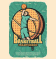 basketball sport retro poster with player and ball vector image