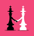 black and white chess kings holding hands on pink vector image vector image