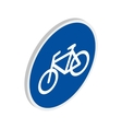 Blue bicycle sign icon isometric 3d style vector image vector image
