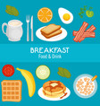 brakfast concept with food and drinks vector image vector image