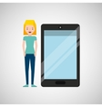 cartoon girl and smart phone touchscreen vector image