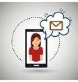 cartoon woman smartphone cloud email vector image vector image