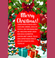 christmas gift and snowman new year greeting card vector image vector image