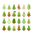 christmas trees color flat icons set vector image