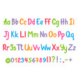coloful alphabet in sketchy style vector image