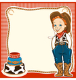 Cowboy child birthday background with cake vector image vector image