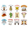 Cowboy set badges wild west rodeo or indians