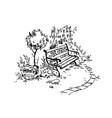 cozy garden corner bench sketch vector image vector image
