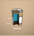 cut cardboard glass with coffee drink americano vector image vector image