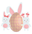 cute rabbits with easter egg painted vector image vector image
