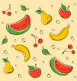 Drawn Outline Fruit Pattern vector image vector image