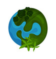 earth planet globe with green island vector image
