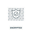 encrypted outline icon monochrome style design vector image vector image