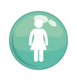 female gender figure button icon vector image vector image