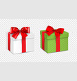 gift white box and green gift box with red ribbon vector image